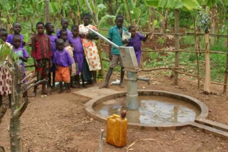 Villagers using the borehole